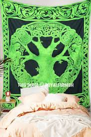 green celtic tree of life tapestry wall