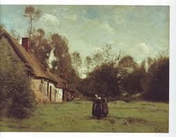 thatched cottage in normandy jean baptiste camille corot oil painting