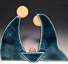 <b>Handcrafted</b> Pottery Nativity Set <b>Contemporary</b> Manger Scene ...