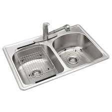 Kitchen Sink Glacier Bay All In One Drop In Stainless Steel 33 In 3 Hole