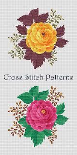 Pink Rose Modern Cross Stitch Pattern Flower Counted Cross