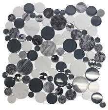 11 61 x11 61 galala black diamond bubble round gray white marble glass tile