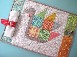 """Quilt Inspiration: Free pattern day ! Thanksgiving & Tom Turkey quilt block 12"""" square, and placemat tutorial by Lori Holt at  Bee in My Bonnet Adamdwight.com"""