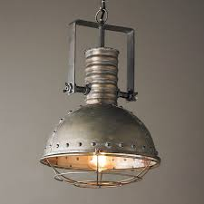 caged lighting. industrial caged pendant with rivets aged_steel lighting