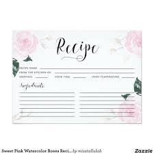 Sweet Pink Watercolor Roses Recipe Card Pinterest Recipe Cards