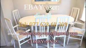 Large Extending Dining Table Vintage Round Shabby Chic Wooden White