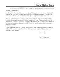 Cover Letter Online Warehouse Associate Cover Letter Sample Cover Letters Livecareer Com