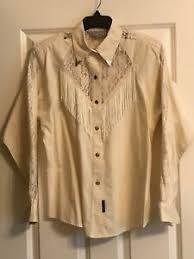 Vtg Lilia Smith Western Attitude Silver tipped collar silver button fringed  top | eBay