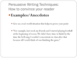 example of an anecdote in an essay stereotyping conclusion essay  persuasive writing techniques how to convince your reader examples anecdotes give us a real example