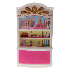 barbie furniture dollhouse. Dollhouse Plastic White \u0026 Pink Display Cabinet/Wardrobe Bedroom Furniture Doll House Decor For Barbie F