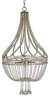 cora hollywood regency beaded crystal antique silver basket chandelier
