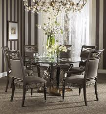 black dining room set round. Dining Room, Modern Glass Set Round Table Top Dark Brown Wooden High Black Room E