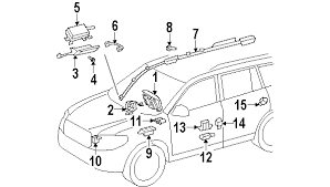 parts com® toyota sensor side air bag partnumber 898310r010 2008 toyota highlander sport v6 3 5 liter gas air bag components