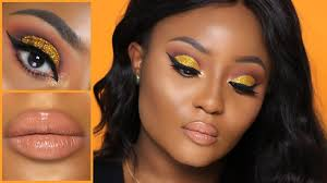 gold glitter cut crease lip makeup tutorial youkeyy