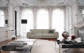 modern floor lamps living room with white leather upholstery sofa rectangular glass tables under crystal