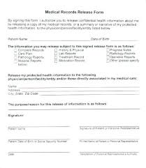 Personal Health Record Forms Release Of Records Form Template Generic Medical Record