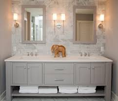 bathroom vanities mn. Minneapolis 3x6 Subway Tile With Mirrored Bathroom Vanities Tops Beach Style And Open Shelves White Trim Mn