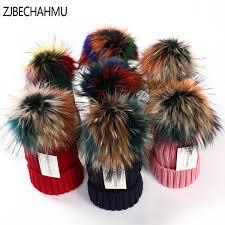 <b>Zjbechahmu</b> Hats Winter <b>Real Fox Fur</b> Pompoms 15cm Hat Warm ...