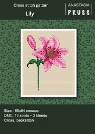 Tiger lily cross stitch pattern Floral cross stitch patterns   Etsy