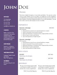 Resume Word Document Template