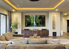 lighting ideas ceiling basement media room. Contemporary Living Room Decor Featuring Sunrise Molding And LED Lighting Modern Ceiling Ideas Basement Media E