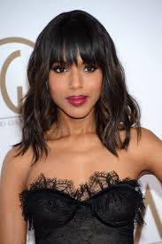 kerry washington layered um wavy hairstyle with bangs for thick hair
