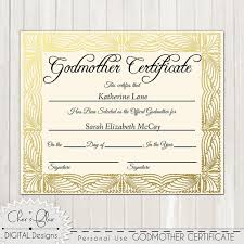 Godmother Certificate Official Godfmother Certificate 8 X Etsy