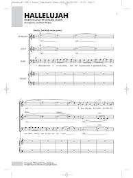 hallelujah piano sheet music leonard cohen hallelujah sab piano sab sheet music sheet