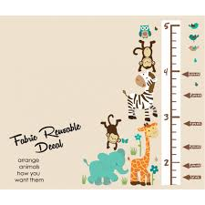 Wild Animals Wild About Teal Height Wall Chart Decal