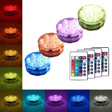 Strobe Light Cake Submersible Led Lights 4 Pack Waterproof Light Multi Color Battery Operated Remote Control Wireless 10 Led Reusable Light For