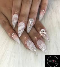 Pointy Nails Designs With Diamonds White And Pink Nails Striped Nail Design Diamond