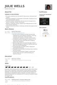 Senior Recruiter Resume samples - VisualCV resume samples database