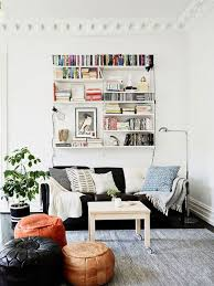 cool shelves behind the couch
