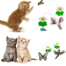 funny pet cat toys kitten play toy electric rotating erfly bird steel wire cat teaser for