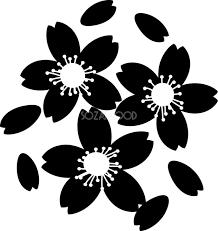 かわいい桜の花無料 シンプル白黒イラスト83139 素材good