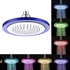 goldwin 8 inch automatic color changing led light fixed showerhead round rainfall shower 7 color gradual changing air turbo power by runnding water no