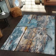 Moderner Teppich Wohnzimmer Kunstvoll Holzplatten Design Meliert