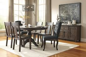 Vintage Brown Stained Teak Wood Dining Table With Apron And Carved Solid Wood Formal Dining Room Sets