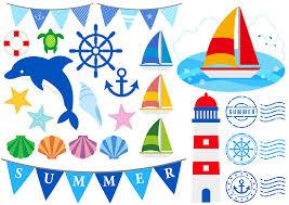 フリーイラスト ヨットやイルカなどの夏の海関連のセットでアハ体験