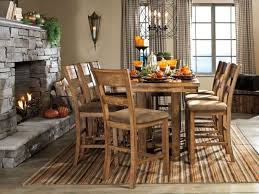 dining room pub style sets: pub style dining set with square table made from raw teakwood with pub style kitchen table