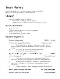 Psychology Resume Sample Tomyumtumweb Com