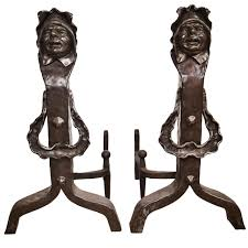vintage set of figural cast iron fireplace andirons for