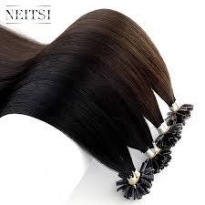 <b>Neitsi</b> Straight <b>Keratin</b> Human Fusion Hair Nail U Tip Machine Made ...