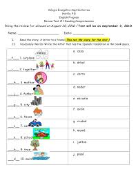 Review test # 1 reading comprehension a letter to a friend 2nd grade …