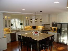 Fantastic Pendant Lights Above Kitchen Island With Chrome Free Standing  Paper Towel Holder And White Ceramic