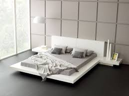 Luxury Bedroom Ideas With White Modern Platform Bed Frame Using