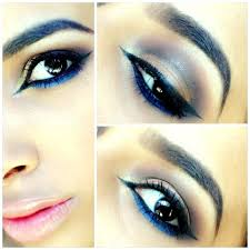 a blue eyeliner with neutral and undertones of blue shades will also plement the outfit the blue eye makeup should be used for evening parties