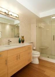 modern bathroom with wall hung bamboo