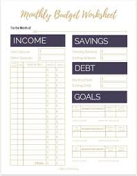 Budget Worksheet In Pdf. personal budget tracking template ...
