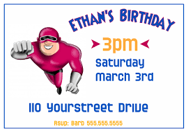 Boys Birthday Party Invitations Templates Boys Super Hero Birthday Party Invitation Template